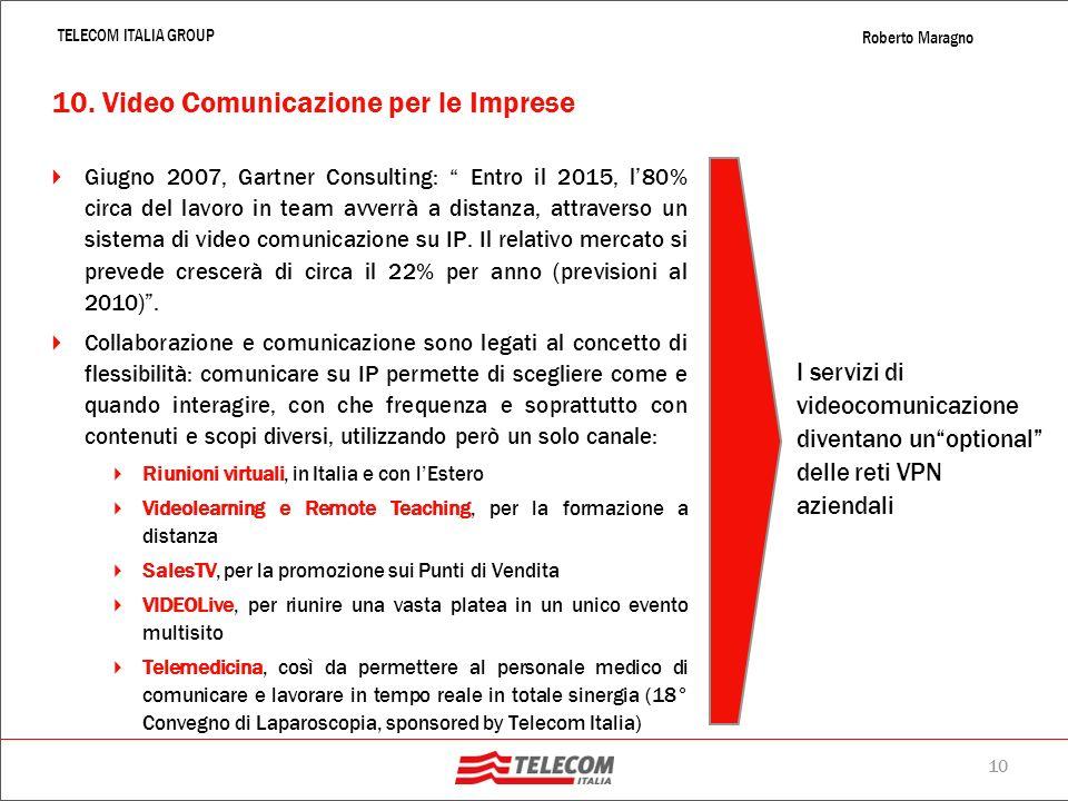 9 TELECOM ITALIA GROUP Roberto Maragno IP PBX Caratteristich e Il Cliente può accedere ai servizi del centralino sia da rete radiomobile pubblica che