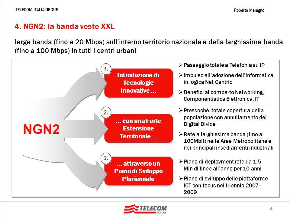 3 TELECOM ITALIA GROUP Roberto Maragno La rete banda larga italiana continua a crescere – 10 milioni di utenti (ottobre 2007) La Banda ancora più larg