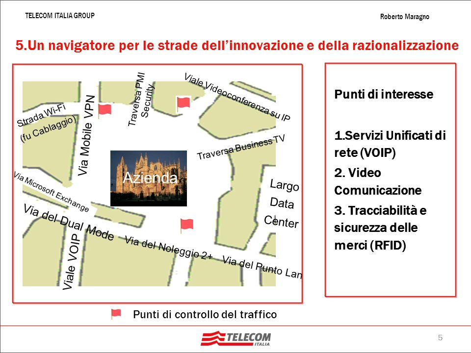 4 TELECOM ITALIA GROUP Roberto Maragno 4. NGN2: la banda veste XXL larga banda (fino a 20 Mbps) sullinterno territorio nazionale e della larghissima b