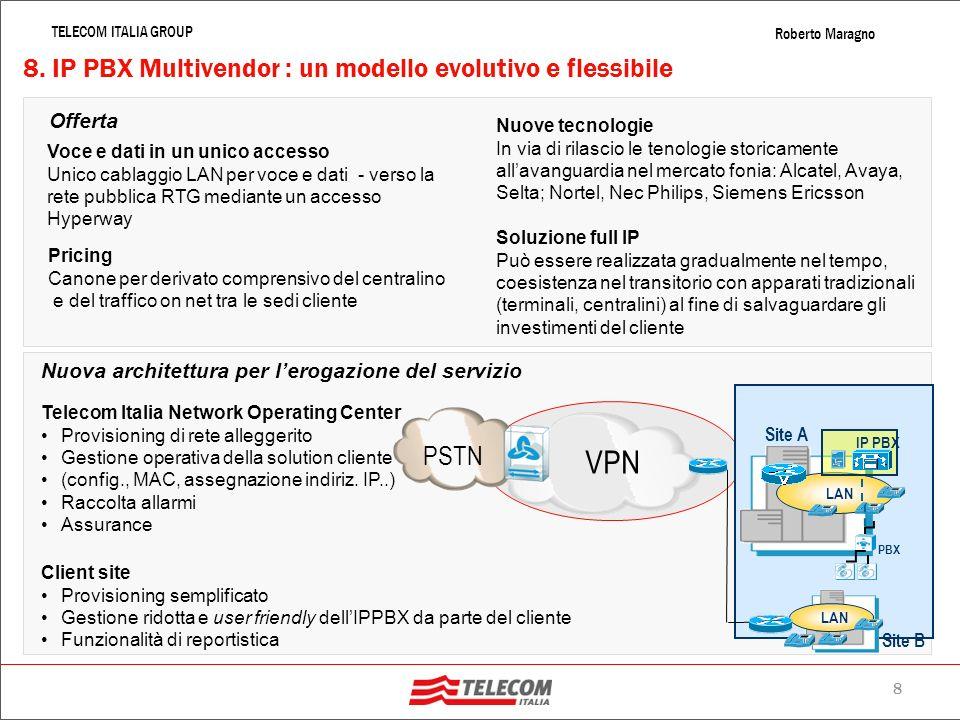 7 TELECOM ITALIA GROUP Roberto Maragno 7. Servizi unificati di rete : quadro dinsieme Accesso Broadband (ADSL & 2+, HDSL, MPLS, …) Network Management