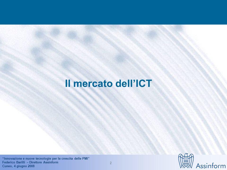 Innovazione e nuove tecnologie per la crescita delle PMI Federico Barilli – Direttore Assinform Cuneo, 4 giugno 2008 12 Informatizzazione di base per dimensione di impresa (2007) Fonte: ISTAT (2007)