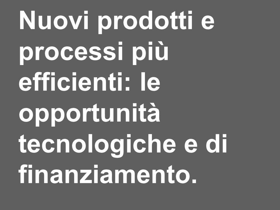 Nuovi prodotti e processi più efficienti: le opportunità tecnologiche e di finanziamento.