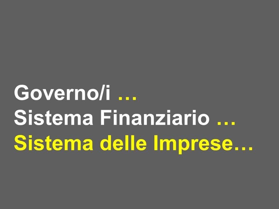Governo/i … Sistema Finanziario … Sistema delle Imprese…