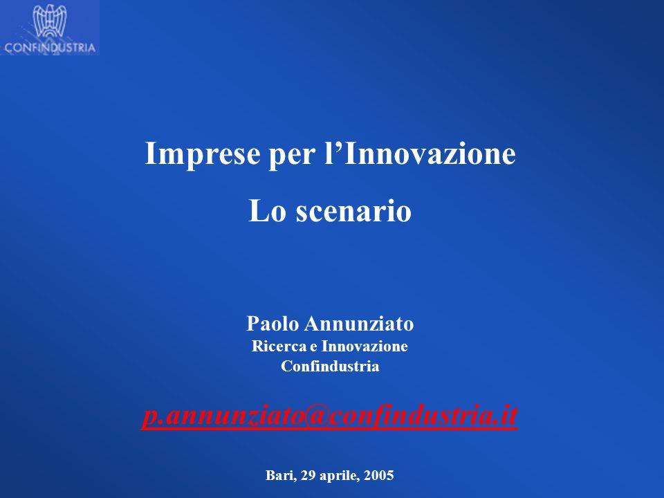 Imprese per lInnovazione Lo scenario Paolo Annunziato Ricerca e Innovazione Confindustria p.annunziato@confindustria.it Bari, 29 aprile, 2005
