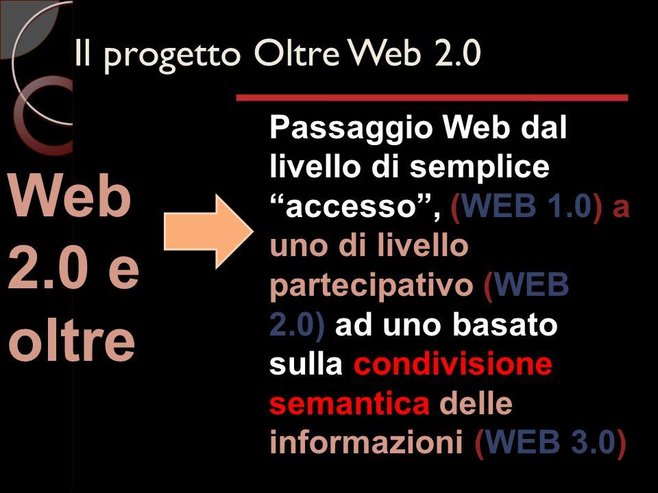 Il progetto Oltre Web 2.0 Web 2.0 e oltre Passaggio Web dal livello di semplice accesso, (WEB 1.0) a uno di livello partecipativo (WEB 2.0) ad uno basato sulla condivisione semantica delle informazioni (WEB 3.0)