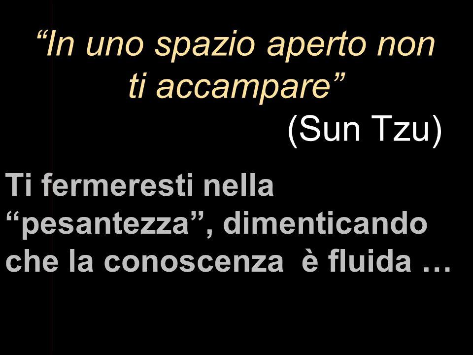 In uno spazio aperto non ti accampare (Sun Tzu) Ti fermeresti nella pesantezza, dimenticando che la conoscenza è fluida …