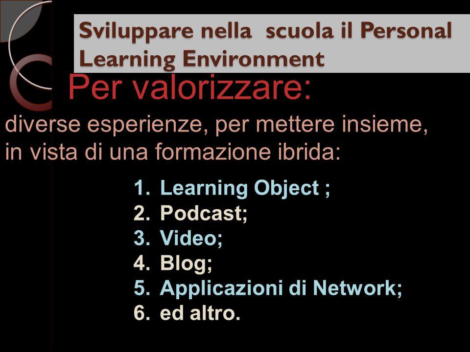 Sviluppare nella scuola il Personal Learning Environment diverse esperienze, per mettere insieme, in vista di una formazione ibrida: Per valorizzare: 1.Learning Object ; 2.Podcast; 3.Video; 4.Blog; 5.Applicazioni di Network; 6.ed altro.