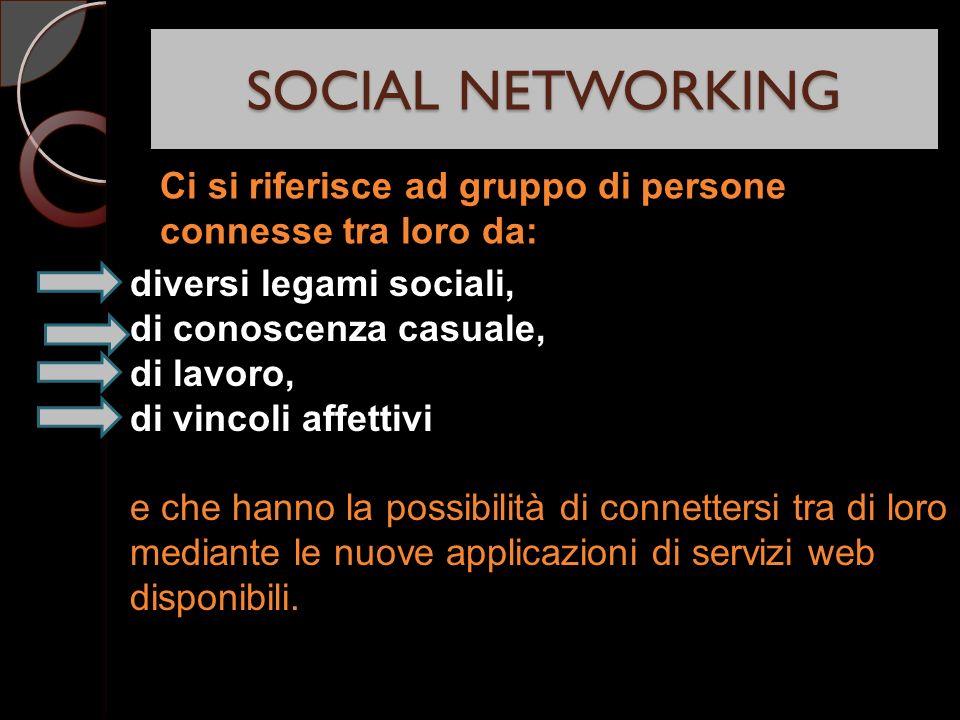 SOCIAL NETWORKING diversi legami sociali, di conoscenza casuale, di lavoro, di vincoli affettivi e che hanno la possibilità di connettersi tra di loro mediante le nuove applicazioni di servizi web disponibili.