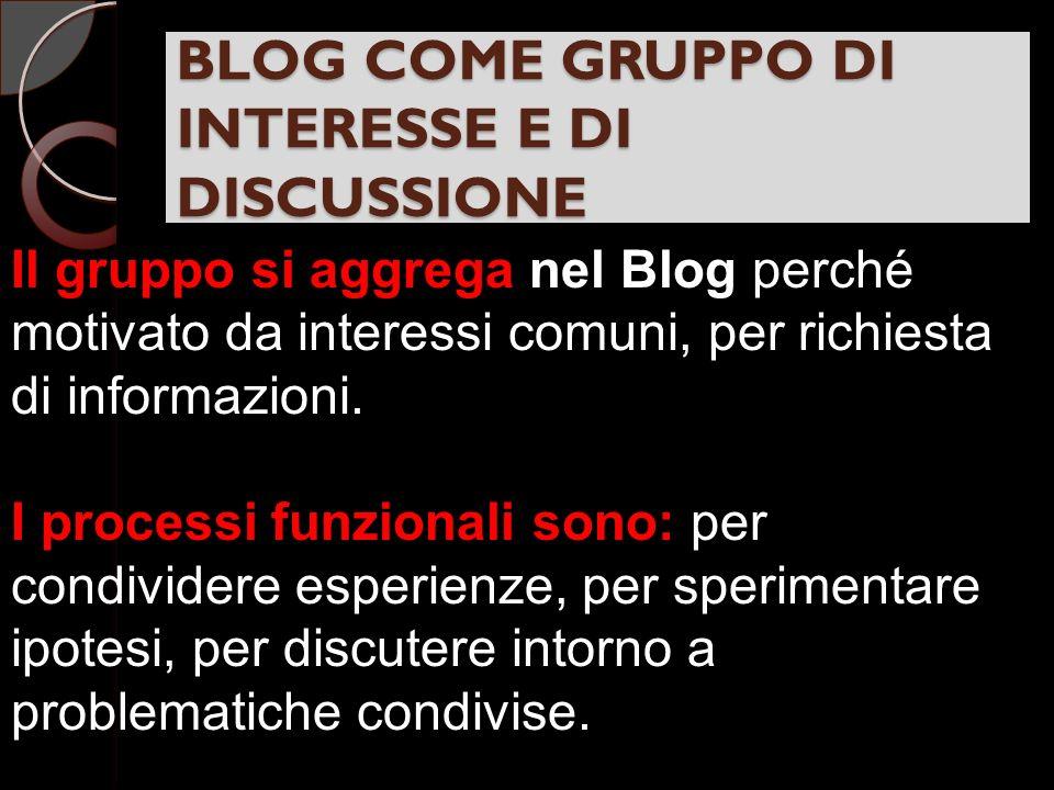 BLOG COME GRUPPO DI INTERESSE E DI DISCUSSIONE Il gruppo si aggrega nel Blog perché motivato da interessi comuni, per richiesta di informazioni.