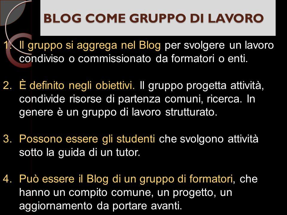 BLOG COME GRUPPO DI LAVORO 1.Il gruppo si aggrega nel Blog per svolgere un lavoro condiviso o commissionato da formatori o enti.