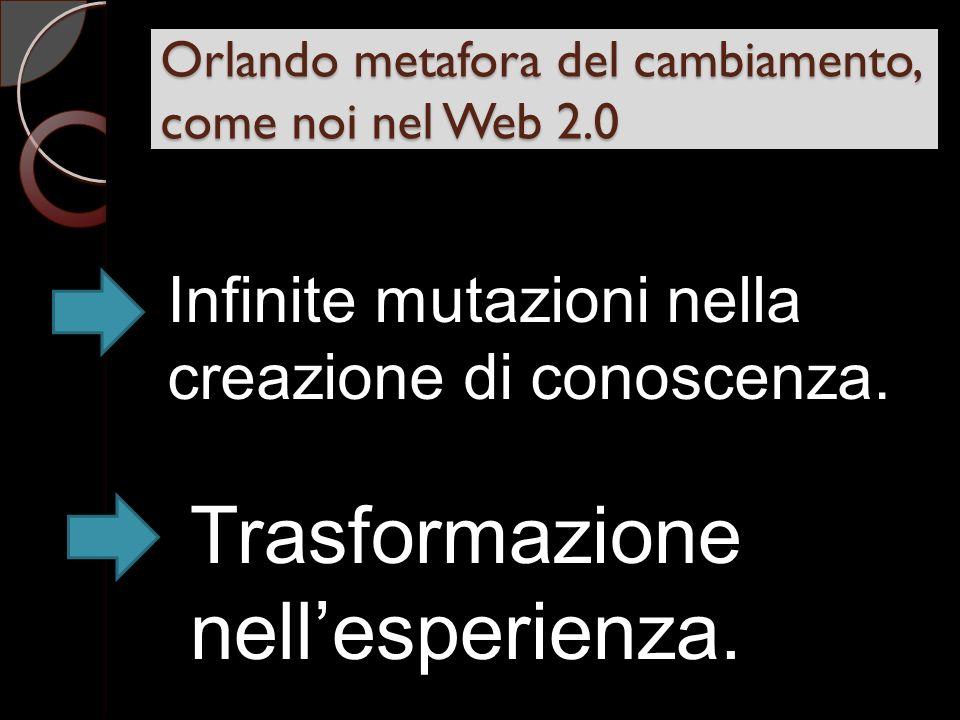 Orlando metafora del cambiamento, come noi nel Web 2.0 Infinite mutazioni nella creazione di conoscenza.