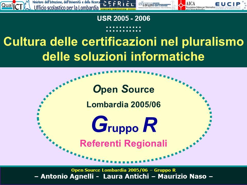 Open Source Lombardia 2005/06 – Gruppo R – Antonio Agnelli - Laura Antichi – Maurizio Naso – DOVE CI COLLOCHIAMO Nella cultura delle certificazioni Nella formazione Nel progetto Nellinnovazione didattica Lettera Prot.