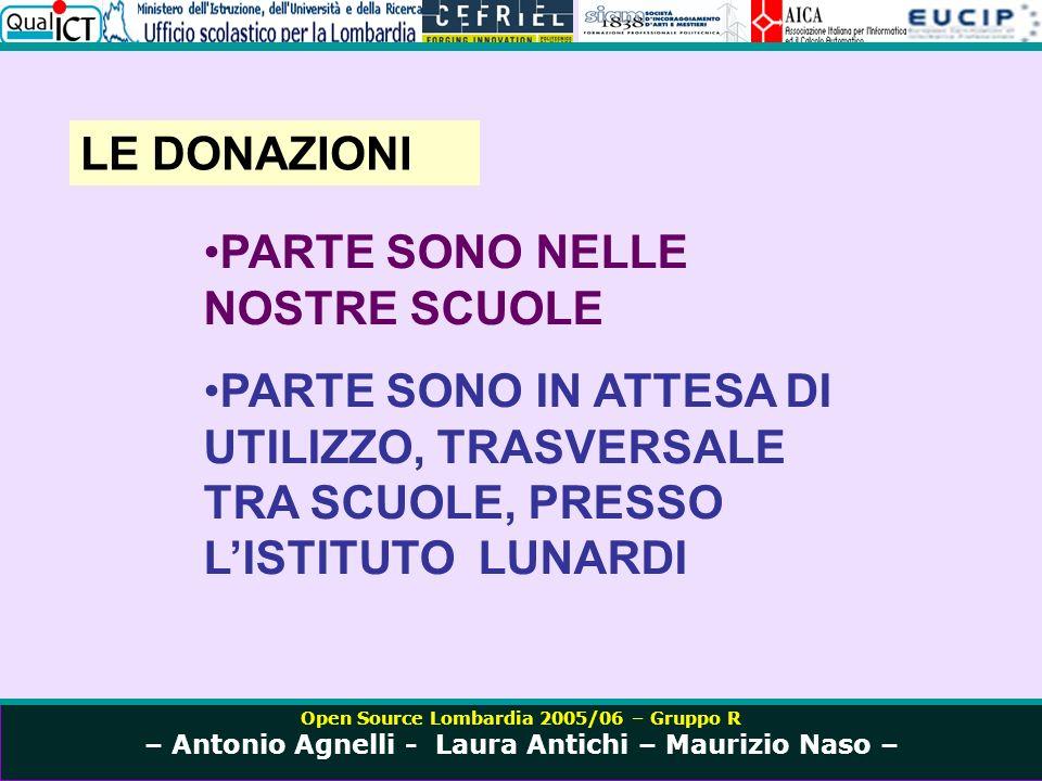Open Source Lombardia 2005/06 – Gruppo R – Antonio Agnelli - Laura Antichi – Maurizio Naso – LE DONAZIONI PARTE SONO NELLE NOSTRE SCUOLE PARTE SONO IN ATTESA DI UTILIZZO, TRASVERSALE TRA SCUOLE, PRESSO LISTITUTO LUNARDI