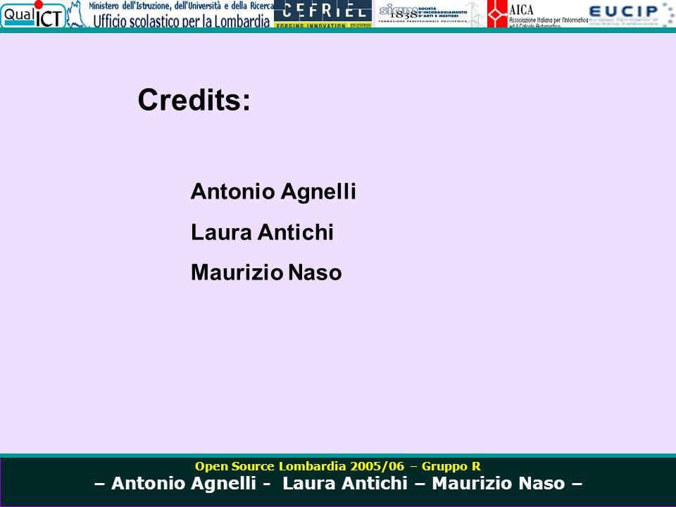 Open Source Lombardia 2005/06 – Gruppo R – Antonio Agnelli - Laura Antichi – Maurizio Naso – Credits: Antonio Agnelli Laura Antichi Maurizio Naso