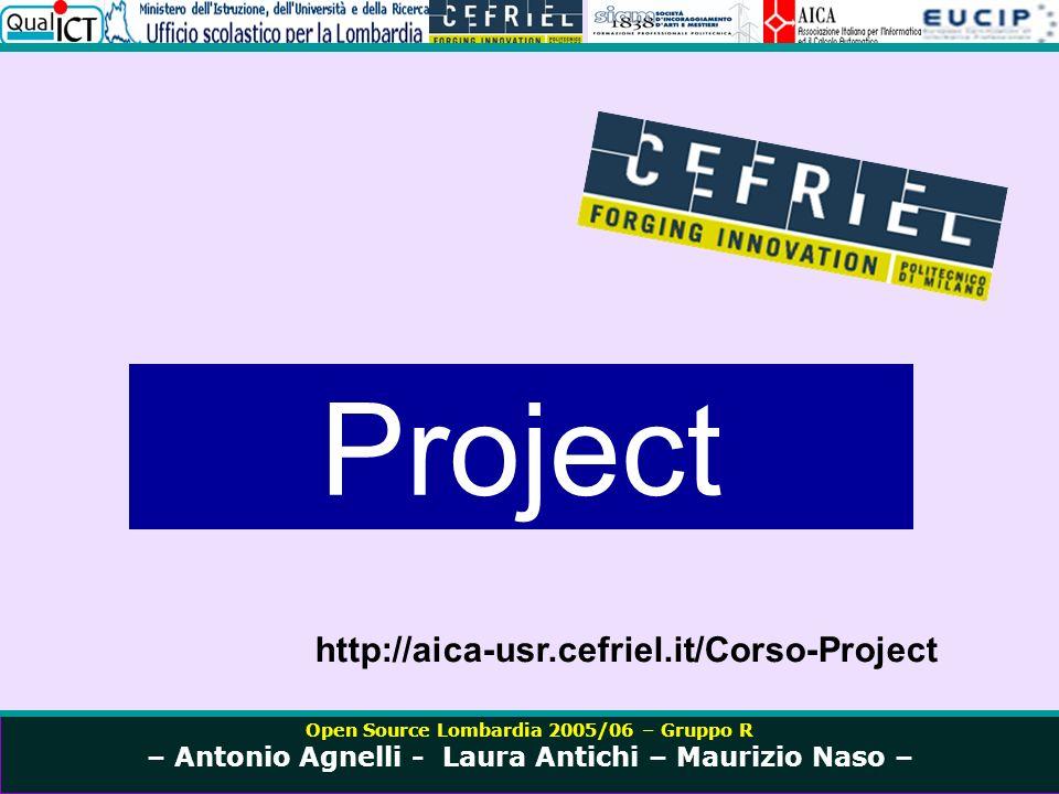 Open Source Lombardia 2005/06 – Gruppo R – Antonio Agnelli - Laura Antichi – Maurizio Naso – http://www.istruzione.lombardia.it/comunic/comunic05/mag05/cprot9958_05.htm http://harmonia.cefriel.it/ http://www.siam1838.it/progetti/aica_usr.html http://www.istruzione.lombardia.it/comunic/comunic05/mag05/cprot9958_05.htm