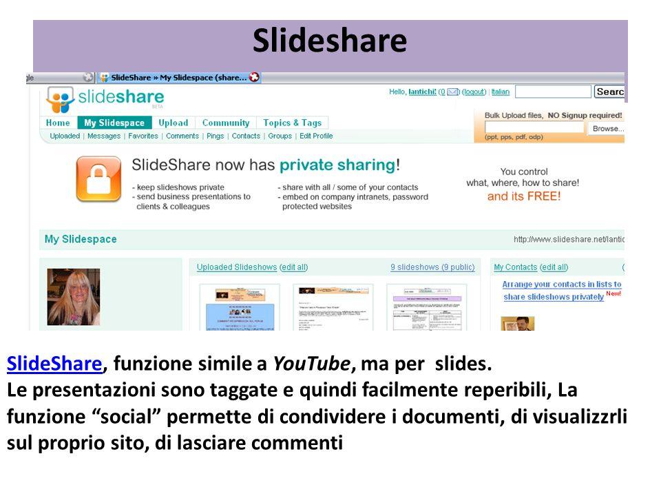 Slideshare SlideShareSlideShare, funzione simile a YouTube, ma per slides. Le presentazioni sono taggate e quindi facilmente reperibili, La funzione s