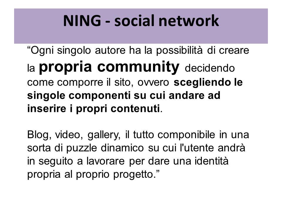Ogni singolo autore ha la possibilità di creare la propria community decidendo come comporre il sito, ovvero scegliendo le singole componenti su cui a
