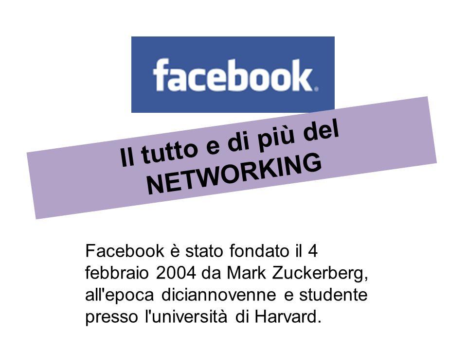 Facebook è stato fondato il 4 febbraio 2004 da Mark Zuckerberg, all'epoca diciannovenne e studente presso l'università di Harvard. Il tutto e di più d