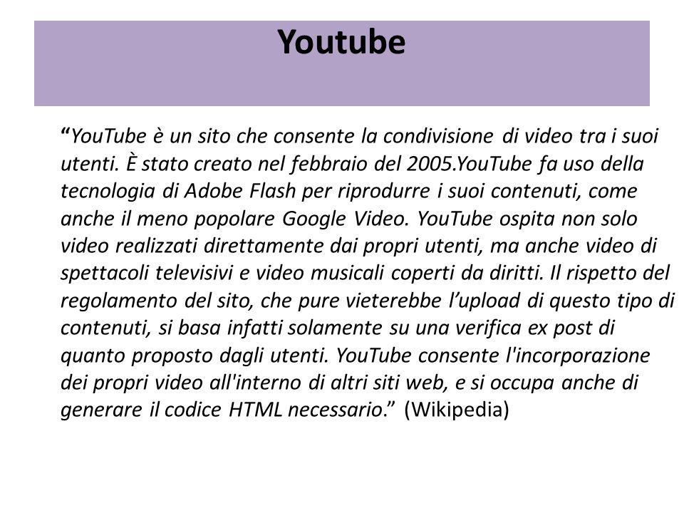 YouTube è un sito che consente la condivisione di video tra i suoi utenti.