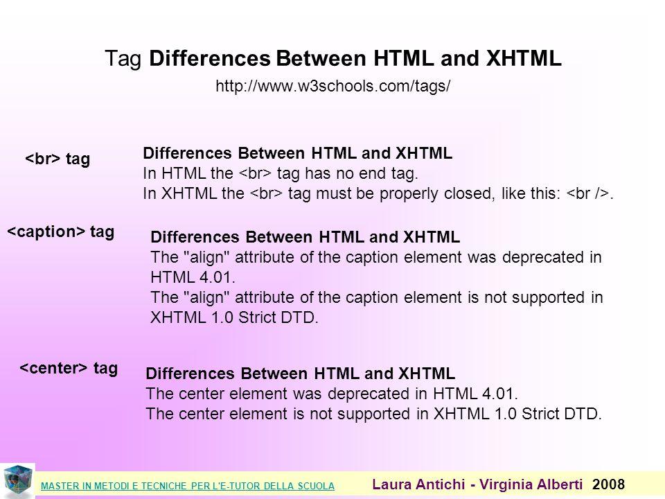MASTER IN METODI E TECNICHE PER L E-TUTOR DELLA SCUOLAMASTER IN METODI E TECNICHE PER L E-TUTOR DELLA SCUOLA Laura Antichi - Virginia Alberti 2008 Tag Differences Between HTML and XHTML http://www.w3schools.com/tags/ tag Differences Between HTML and XHTML In HTML the tag has no end tag.