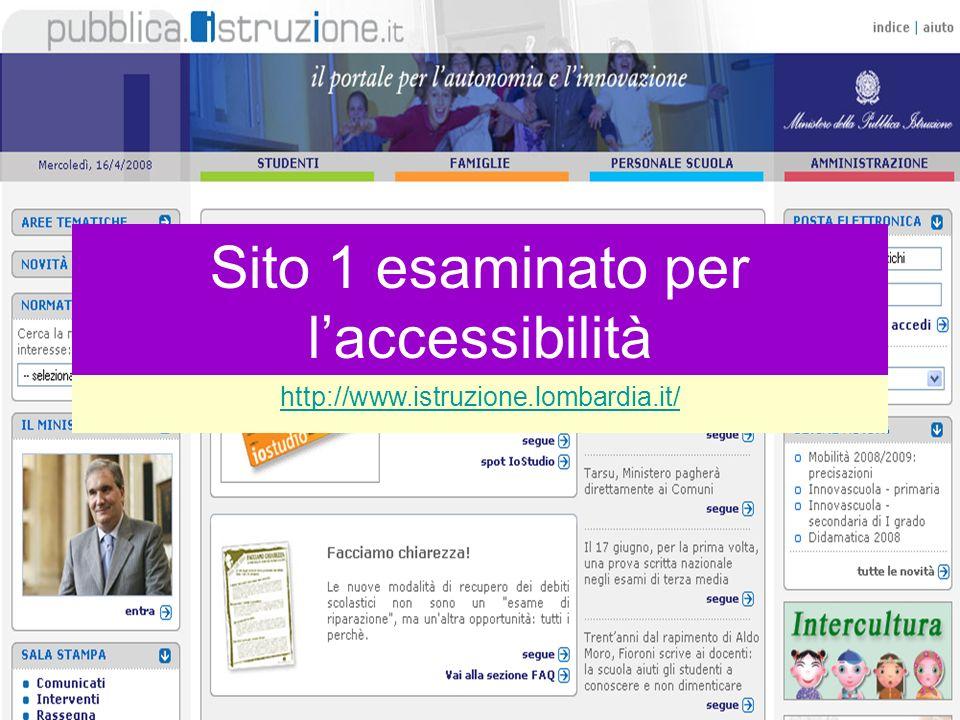 MASTER IN METODI E TECNICHE PER L E-TUTOR DELLA SCUOLAMASTER IN METODI E TECNICHE PER L E-TUTOR DELLA SCUOLA Laura Antichi - Virginia Alberti 2008 Sito 1 esaminato per laccessibilità http://www.istruzione.lombardia.it/ Sito 1 esaminato per laccessibilità http://www.istruzione.lombardia.it/