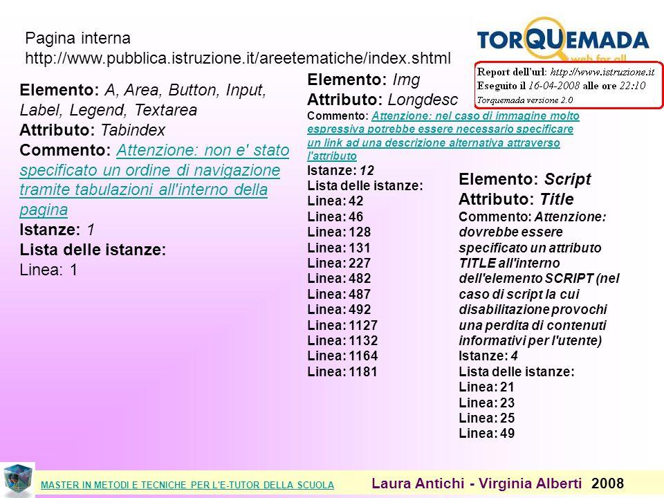 MASTER IN METODI E TECNICHE PER L E-TUTOR DELLA SCUOLAMASTER IN METODI E TECNICHE PER L E-TUTOR DELLA SCUOLA Laura Antichi - Virginia Alberti 2008 Pagina interna http://www.pubblica.istruzione.it/areetematiche/index.shtml Elemento: A, Area, Button, Input, Label, Legend, Textarea Attributo: Tabindex Commento: Attenzione: non e stato specificato un ordine di navigazione tramite tabulazioni all interno della pagina Istanze: 1 Lista delle istanze: Linea: 1Attenzione: non e stato specificato un ordine di navigazione tramite tabulazioni all interno della pagina Elemento: Img Attributo: Longdesc Commento: Attenzione: nel caso di immagine molto espressiva potrebbe essere necessario specificare un link ad una descrizione alternativa attraverso l attributo Istanze: 12 Lista delle istanze: Linea: 42 Linea: 46 Linea: 128 Linea: 131 Linea: 227 Linea: 482 Linea: 487 Linea: 492 Linea: 1127 Linea: 1132 Linea: 1164 Linea: 1181Attenzione: nel caso di immagine molto espressiva potrebbe essere necessario specificare un link ad una descrizione alternativa attraverso l attributo Elemento: Script Attributo: Title Commento: Attenzione: dovrebbe essere specificato un attributo TITLE all interno dell elemento SCRIPT (nel caso di script la cui disabilitazione provochi una perdita di contenuti informativi per l utente) Istanze: 4 Lista delle istanze: Linea: 21 Linea: 23 Linea: 25 Linea: 49