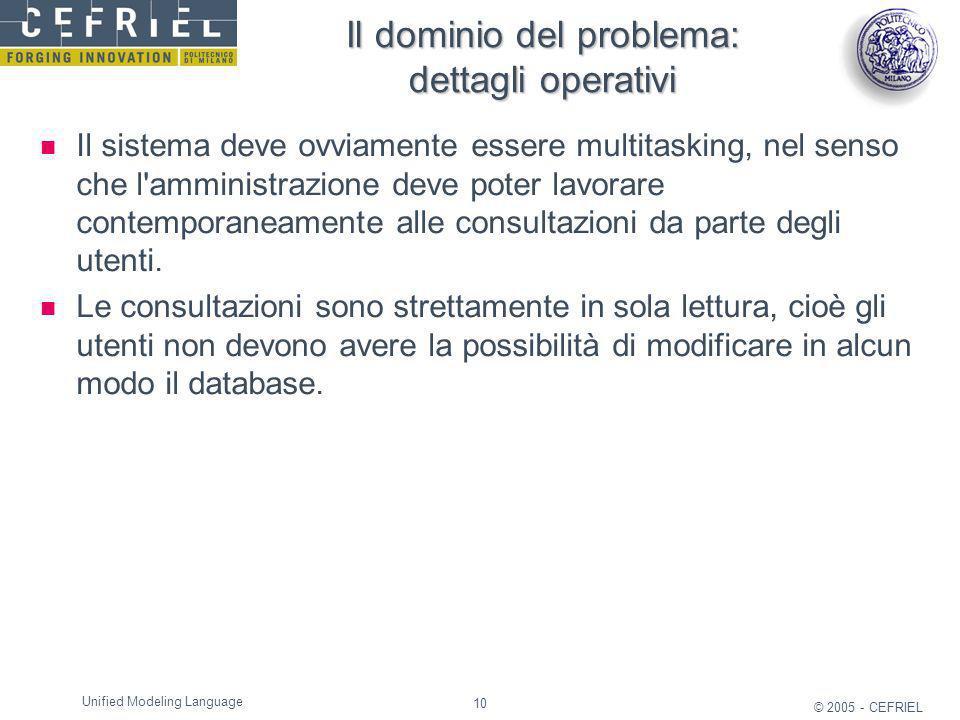 10 © 2005 - CEFRIEL Unified Modeling Language Il dominio del problema: dettagli operativi Il sistema deve ovviamente essere multitasking, nel senso ch