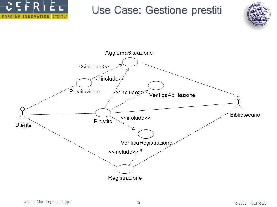 12 © 2005 - CEFRIEL Unified Modeling Language Use Case: Gestione prestiti Prestito Bibliotecario Utente VerificaRegistrazione Registrazione VerificaAb