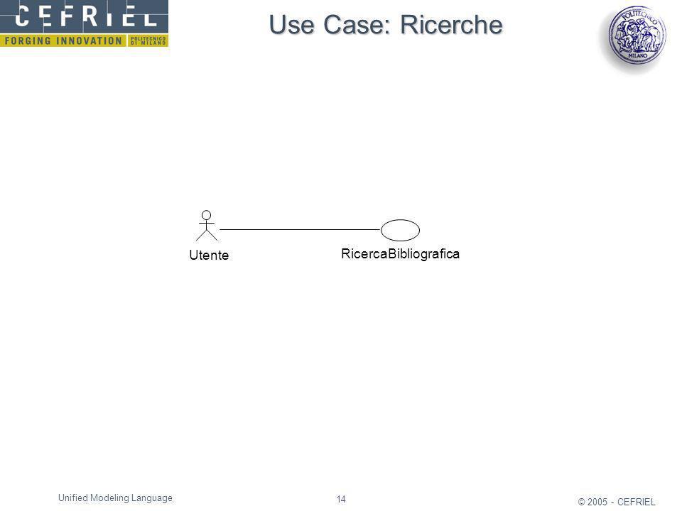 14 © 2005 - CEFRIEL Unified Modeling Language Use Case: Ricerche RicercaBibliografica Utente