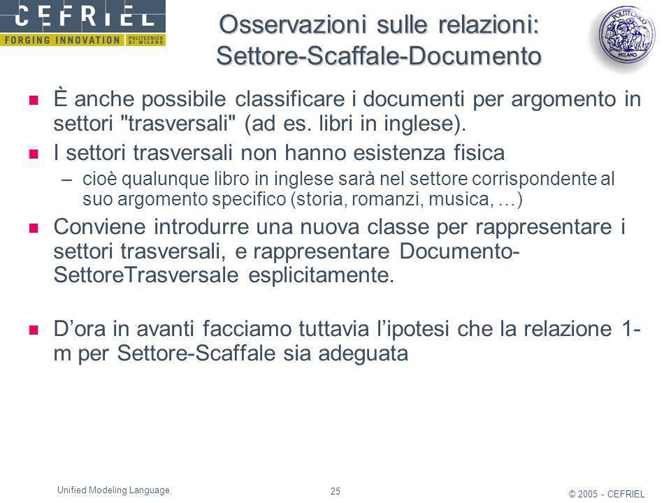 25 © 2005 - CEFRIEL Unified Modeling Language Osservazioni sulle relazioni: Settore-Scaffale-Documento È anche possibile classificare i documenti per