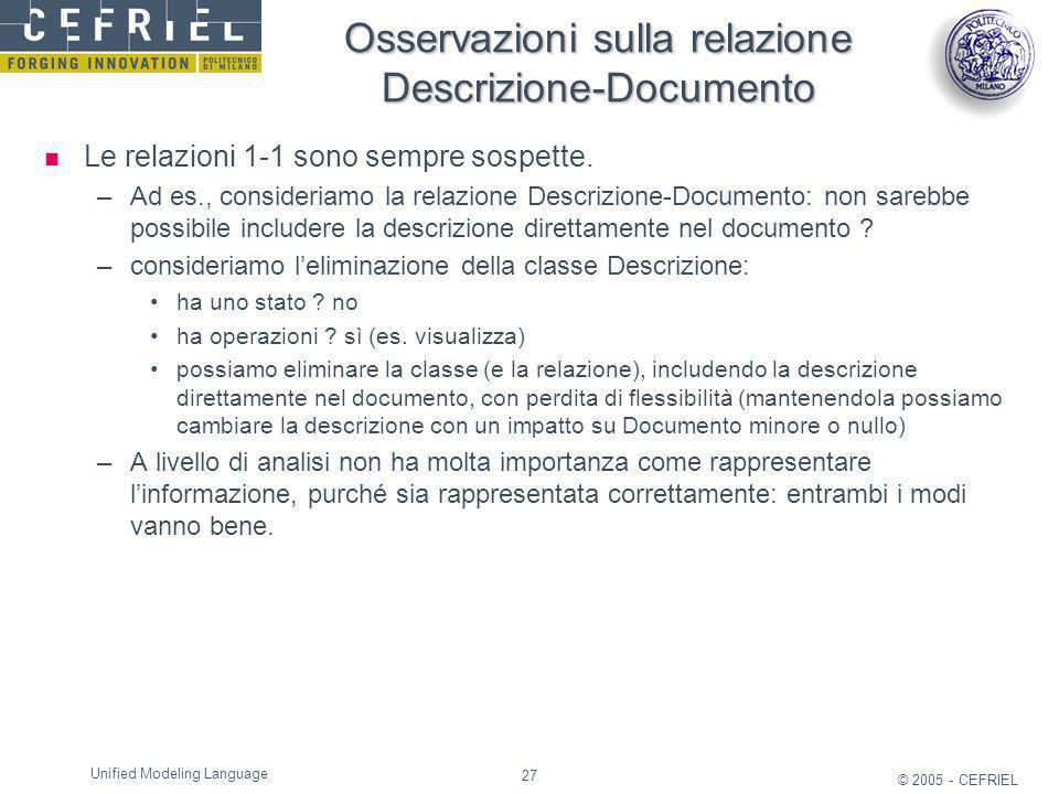 27 © 2005 - CEFRIEL Unified Modeling Language Osservazioni sulla relazione Descrizione-Documento Le relazioni 1-1 sono sempre sospette. –Ad es., consi