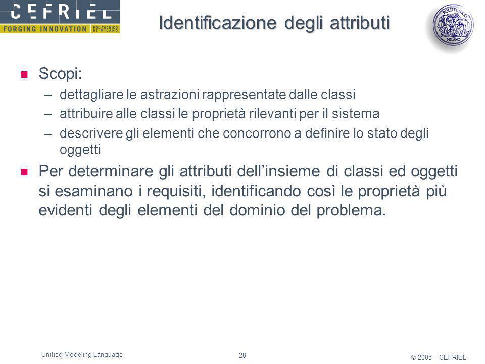 28 © 2005 - CEFRIEL Unified Modeling Language Identificazione degli attributi Scopi: –dettagliare le astrazioni rappresentate dalle classi –attribuire