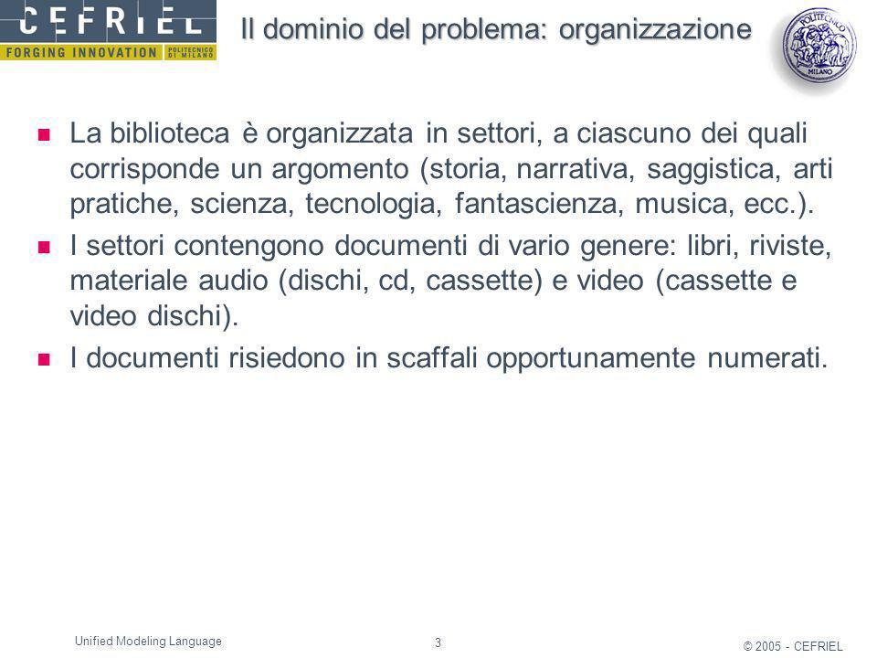 3 © 2005 - CEFRIEL Unified Modeling Language Il dominio del problema: organizzazione La biblioteca è organizzata in settori, a ciascuno dei quali corr