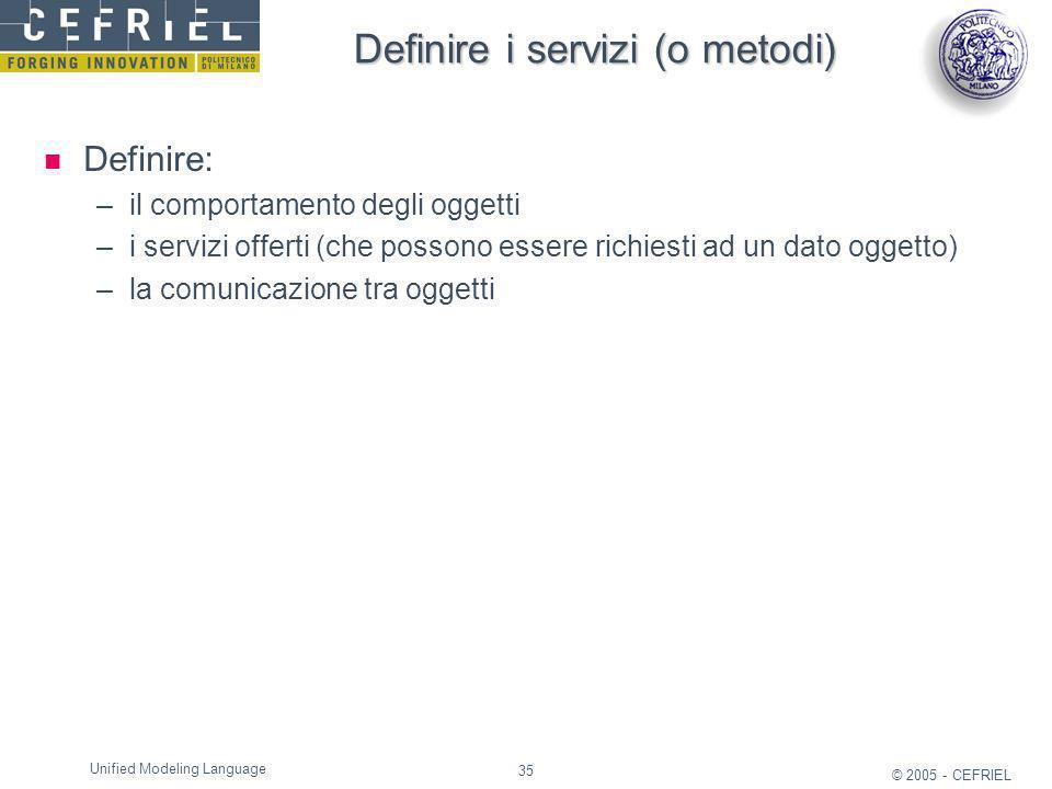 35 © 2005 - CEFRIEL Unified Modeling Language Definire i servizi (o metodi) Definire: –il comportamento degli oggetti –i servizi offerti (che possono