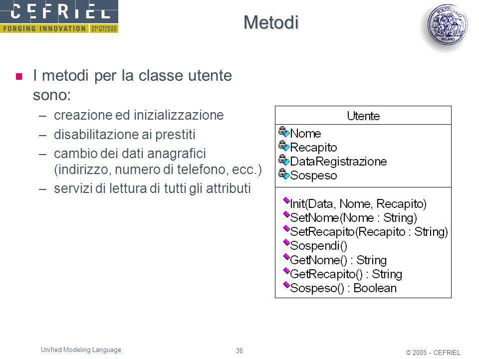 36 © 2005 - CEFRIEL Unified Modeling Language Metodi I metodi per la classe utente sono: –creazione ed inizializzazione –disabilitazione ai prestiti –