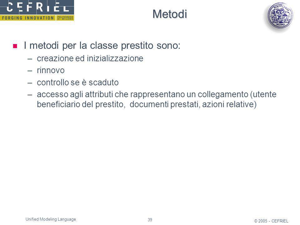 39 © 2005 - CEFRIEL Unified Modeling Language Metodi I metodi per la classe prestito sono: –creazione ed inizializzazione –rinnovo –controllo se è sca