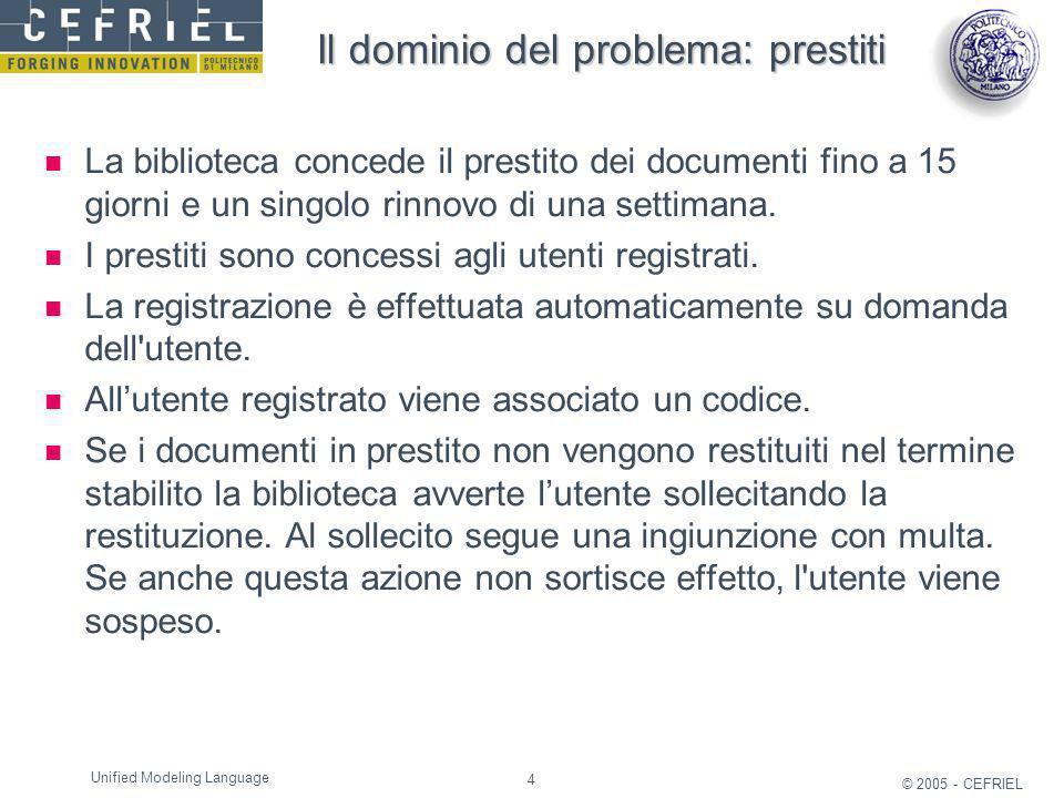 4 © 2005 - CEFRIEL Unified Modeling Language Il dominio del problema: prestiti La biblioteca concede il prestito dei documenti fino a 15 giorni e un s