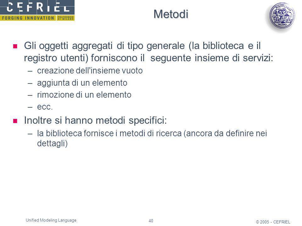 40 © 2005 - CEFRIEL Unified Modeling Language Metodi Gli oggetti aggregati di tipo generale (la biblioteca e il registro utenti) forniscono il seguent