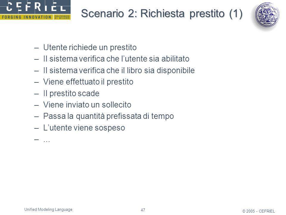 47 © 2005 - CEFRIEL Unified Modeling Language Scenario 2: Richiesta prestito (1) –Utente richiede un prestito –Il sistema verifica che lutente sia abi