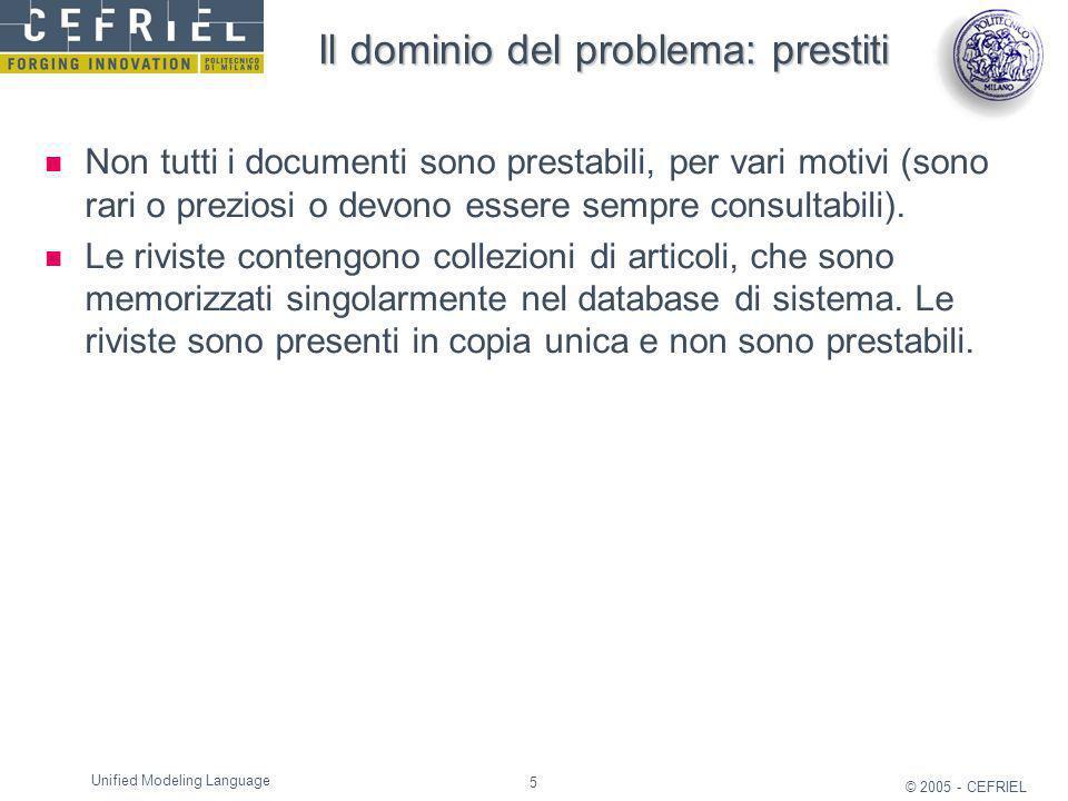 5 © 2005 - CEFRIEL Unified Modeling Language Il dominio del problema: prestiti Non tutti i documenti sono prestabili, per vari motivi (sono rari o pre