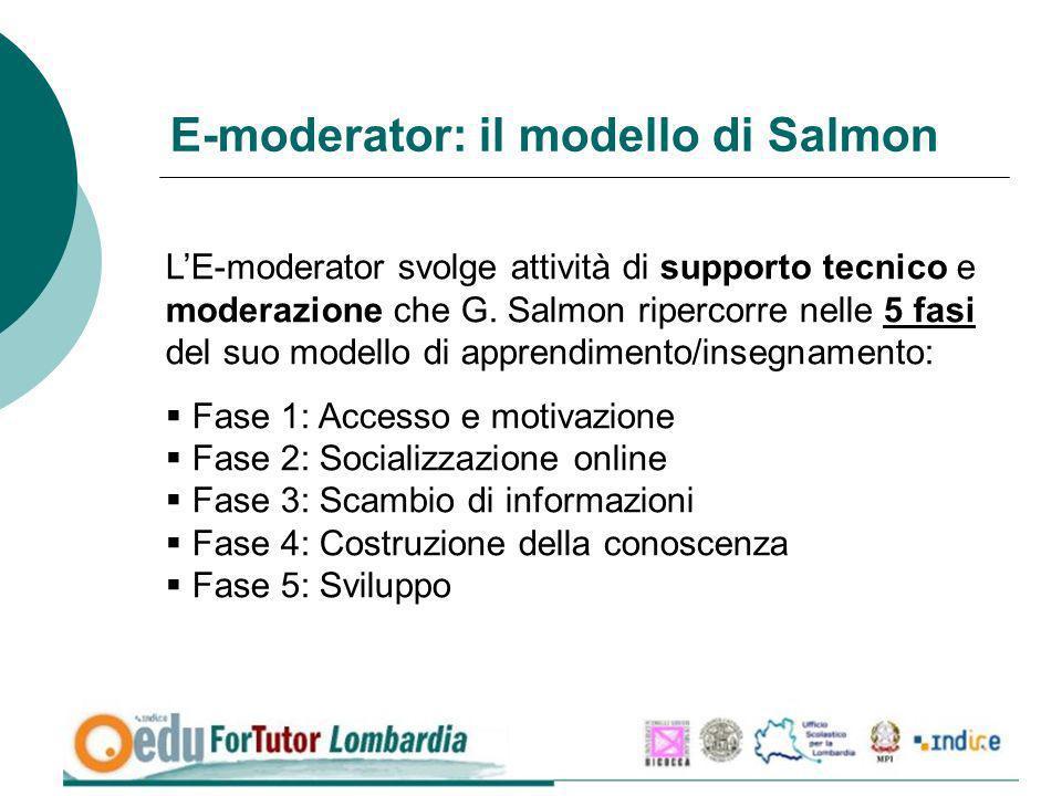 E-moderator: il modello di Salmon LE-moderator svolge attività di supporto tecnico e moderazione che G. Salmon ripercorre nelle 5 fasi del suo modello