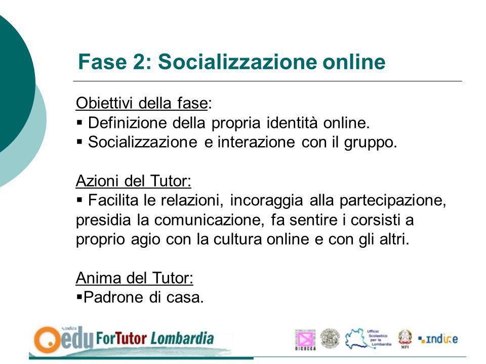 Fase 2: Socializzazione online Obiettivi della fase: Definizione della propria identità online. Socializzazione e interazione con il gruppo. Azioni de