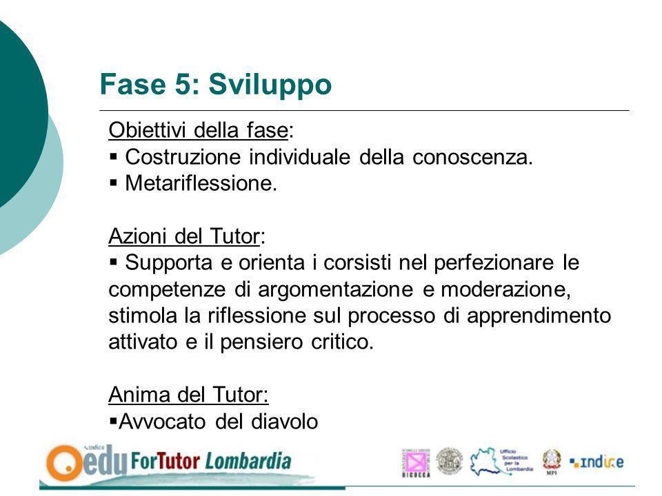 Fase 5: Sviluppo Obiettivi della fase: Costruzione individuale della conoscenza. Metariflessione. Azioni del Tutor: Supporta e orienta i corsisti nel