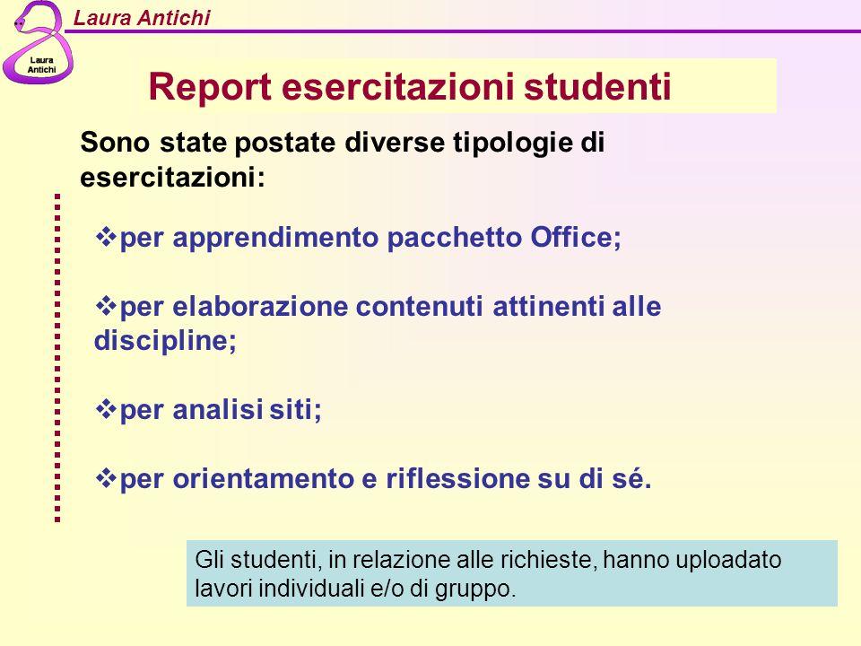 Laura Antichi Report esercitazioni studenti per apprendimento pacchetto Office; per elaborazione contenuti attinenti alle discipline; per analisi siti; per orientamento e riflessione su di sé.