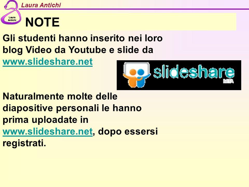 Laura Antichi NOTE Gli studenti hanno inserito nei loro blog Video da Youtube e slide da www.slideshare.net www.slideshare.net Naturalmente molte dell