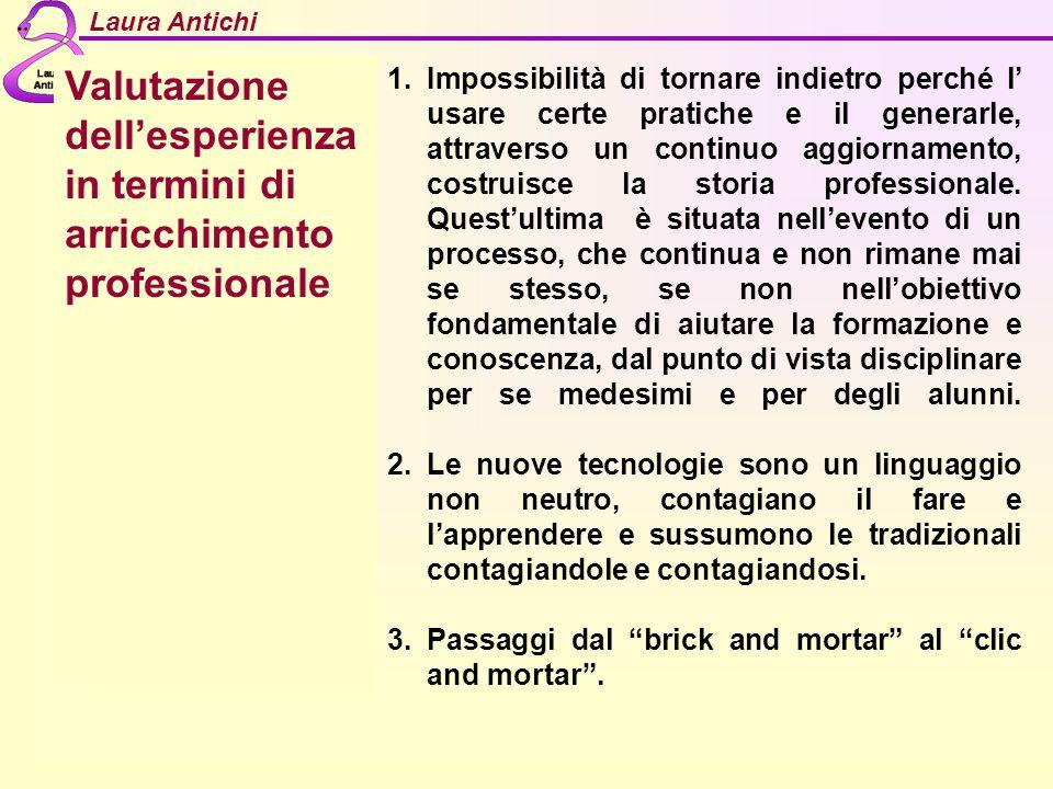 Laura Antichi Valutazione dellesperienza in termini di arricchimento professionale 1.Impossibilità di tornare indietro perché l usare certe pratiche e