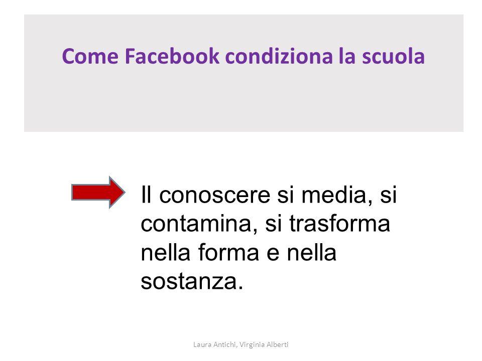 Come Facebook condiziona la scuola Laura Antichi, Virginia Alberti Il conoscere si media, si contamina, si trasforma nella forma e nella sostanza.