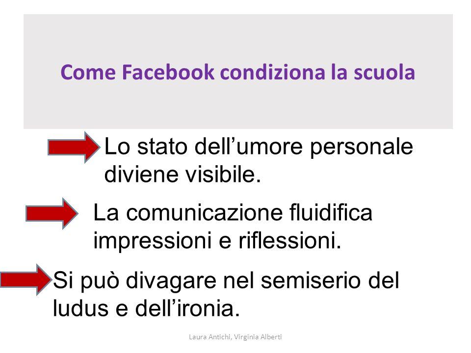 Come Facebook condiziona la scuola Laura Antichi, Virginia Alberti Lo stato dellumore personale diviene visibile. La comunicazione fluidifica impressi