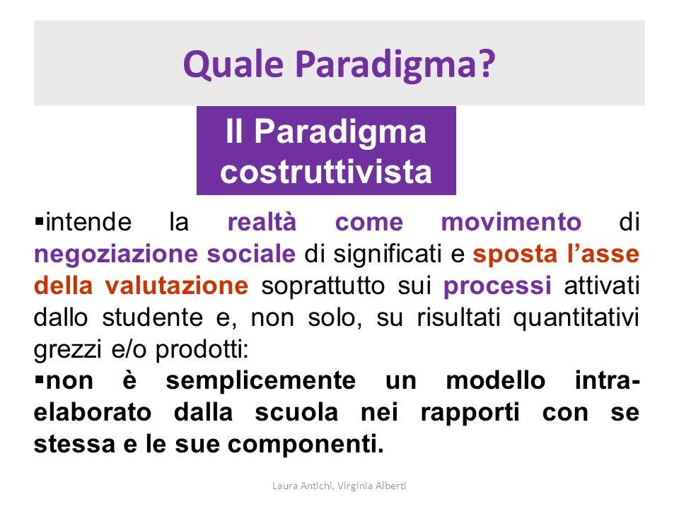 Quale Paradigma? Laura Antichi, Virginia Alberti Il Paradigma costruttivista intende la realtà come movimento di negoziazione sociale di significati e
