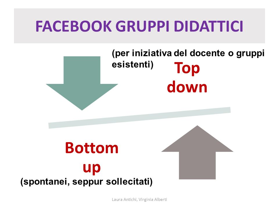 FACEBOOK GRUPPI DIDATTICI Top down Bottom up Laura Antichi, Virginia Alberti (spontanei, seppur sollecitati) (per iniziativa del docente o gruppi esis